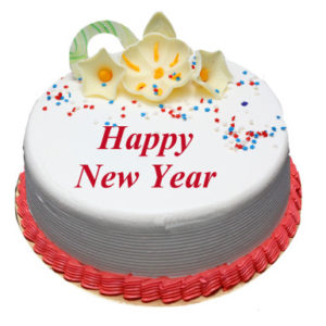 Vanilla New Year Cake Online Delivery